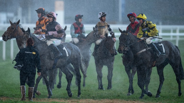 Runners return in the rain following the maiden hurdle at Ascot on Friday