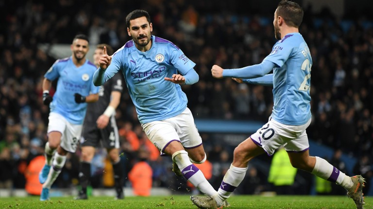 Ilkay Gundogan of Manchester City celebrates after scoring his team's second goal against Leicester