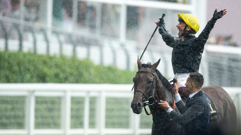Dettori celebrates after winning at last year's Royal Ascot on Crystal Ocean