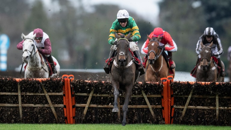 Epatante: leads over the final flight to win the Christmas Hurdle