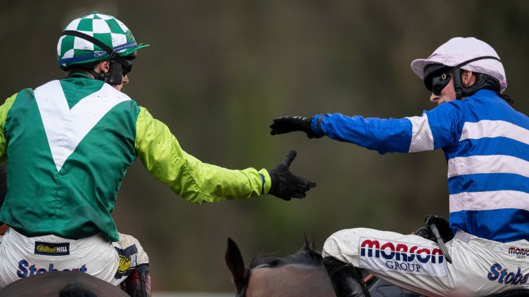 Harry Cobden (right) congratulates Sam Twiston-Davies after the latter's victory on Clan Des Obeaux in last year's King George VI Chase