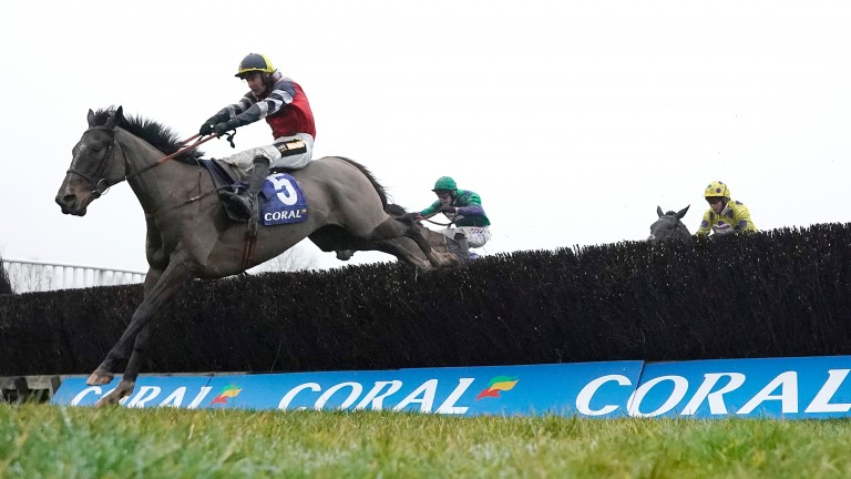 Potters Corner clears the last on his way to winning the Welsh Grand National under Jack Tudor