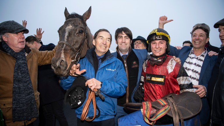 Connections celebrate Potters Corner's victory in the Welsh Grand National