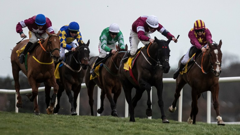 Delta Work (white cap): came out on top in a thrilling Savills Chase