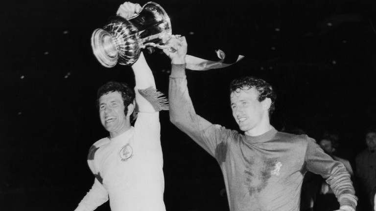 Chelsea's Peter Osgood and Peter Houseman celebrate their 1970 FA Cup victory