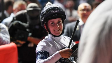 Rachel King returns to the mounting yard with Greysful Glamour after winning the Seppelt Wines Handicap at Moonee Valley Racecourse on October 25, 2019 in Moonee Ponds, Australia. (Natasha Morello/Racing Photos)