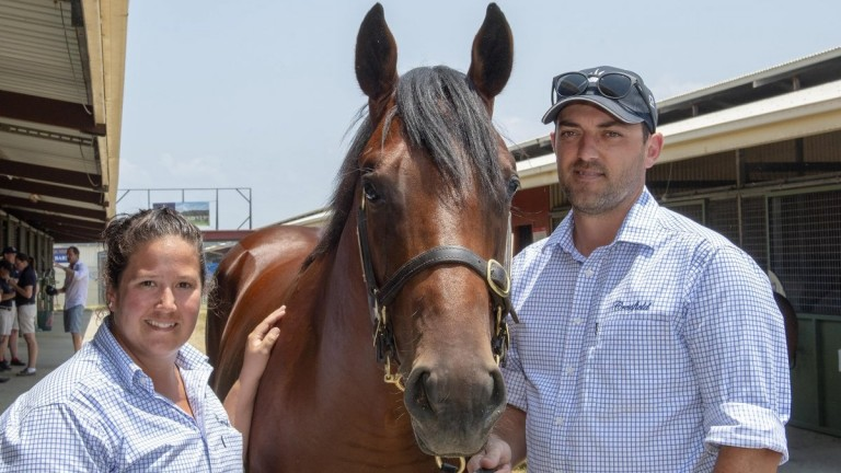 Sale topper: this Exceed And Excel colt, pictured with Cressfield yearling manager Kim Rieck and colleague Dave Harrison, made A$1.8 million