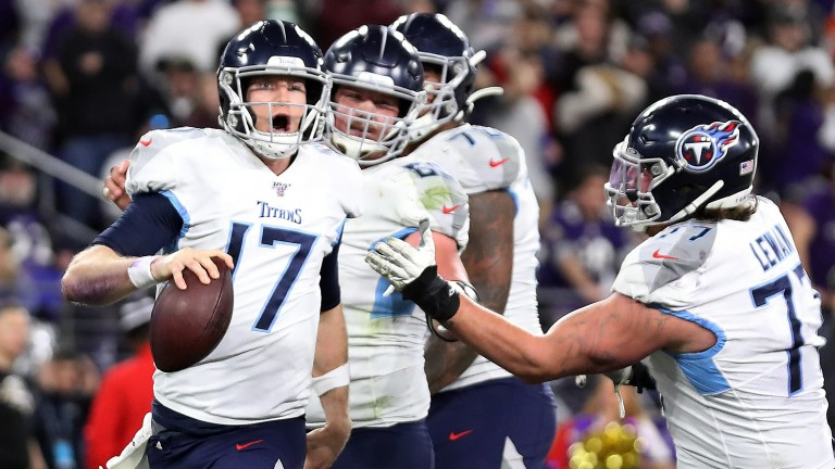 The Tennessee Titans celebrated a shock success over the Baltimore Ravens