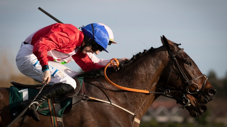 A Plus Tard (near side) beats Chacun Pour Soi in the Grade 1 Paddy's Rewards Club Chase