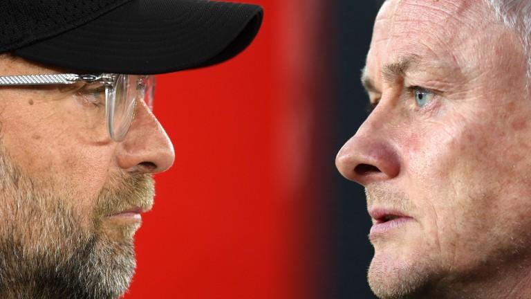 Liverpool manager Jurgen Klopp and Manchester United boss Ole Gunnar Solskjaer