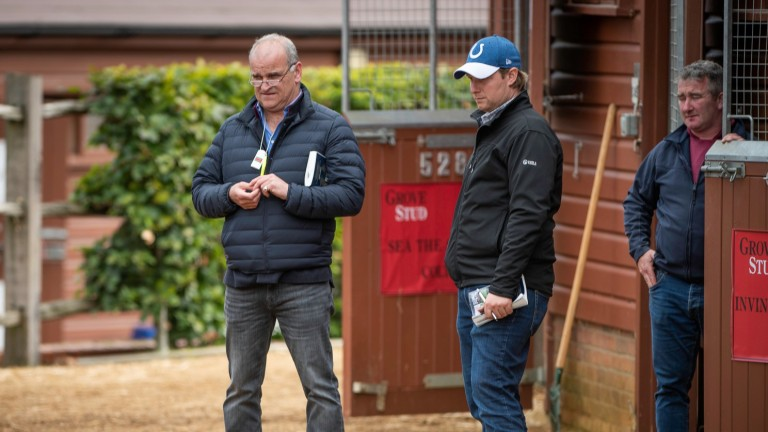 Brian Meehan (left) and Sam Sangster scouting for talent at Tattersalls