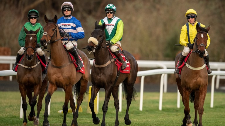 Cyrname (pink cap), Clan Des Obeaux (green and white) and Lostintranslation (yellow): all set to oppose each other again in a scintillating King George VI Chase
