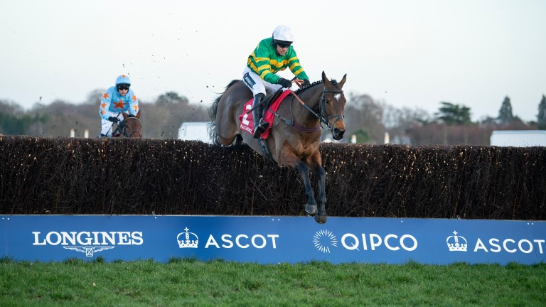 Defi Du Seuil jumps the final fence clear in the Clarence House Chase