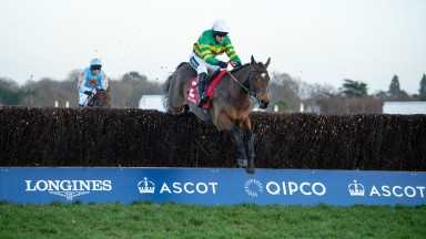 Defi Du Seuil (Barry Geraghty) jumps the last fence and beats Un De Sceaux (Paul Townend) in the Clarence House ChaseAscot 18.1.20 Pic: Edward Whitaker