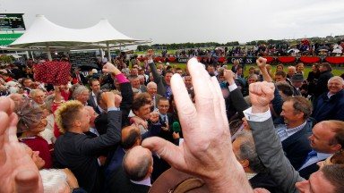 Rebel Fitz and Davy Russell win the Galway Hurdle for Michael Winters and owner Brian Sweetman Galway Festival Photo: Patrick McCann 02.08.2012