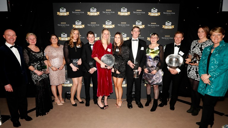 Clare Balding (left) and Luke Harvey flank RoR award winners on Saturday night