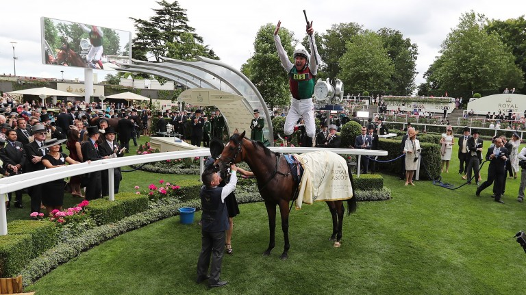 Frankie Dettori performs a flying dismount from Without Parole at Royal Ascot in 2018