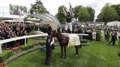 Frankie Dettori  a performs flying dismount from Without Parole at Royal Ascot in 2018 Photo.carolinenorris.ie