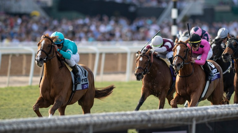 Without Parole (centre) finishes third to Uni in the Breeders Cup Mile