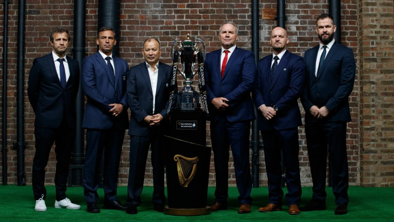 Six Nations coaches (L-R) Fabien Galthie, Franco Smith, Eddie Jones, Wayne Pivac, Gregor Townsend and Andy Farrell