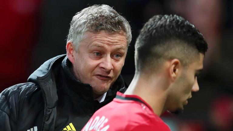 Manchester United manager Ole Gunnar Solskjaer yells at Andreas Pereira