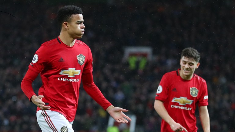 Mason Greenwood of Manchester United celebrates after scoring against Norwich City