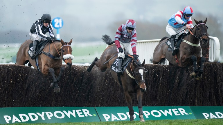 Imperial Aura (left) jumps the second-last fence at Cheltenham with On The Slopes and Simply The Betts (right)