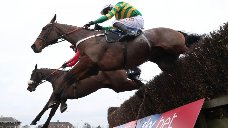 OK Corral (near) and Fingerontheswitch fight it out in last year's Sky Bet Chase