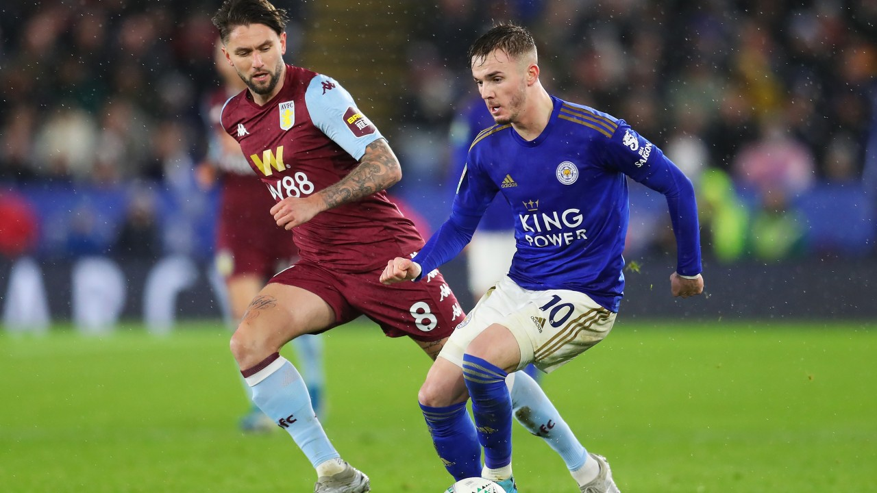 Image result for Leicester city vs aston villa EFL 2020