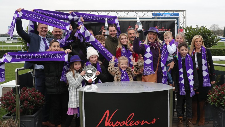 Connections of Lady Buttons celebrate at Doncaster