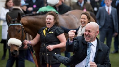 Presenting Percy 's owner Philip Reynolds celebrates after the RSA ChaseCheltenham 14.3.18 Pic: Edward Whitaker