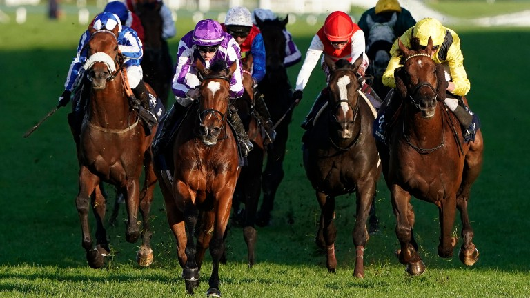 Magical (purple silks) moves clear of her rivals in last year's Champion Stakes