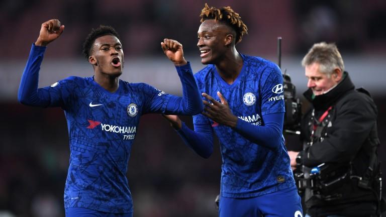 Chelsea's Callum Hudson-Odoi and Tammy Abraham celebrate