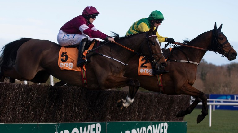 Notebook (near side) held off the challenge of Cash Back to win again at Leopardstown
