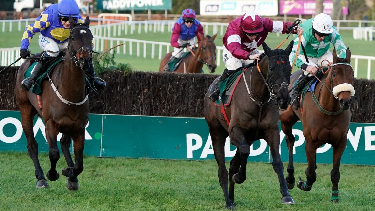 Delta Work (centre) battles to victory in the Irish Gold Cup at Leopardstown