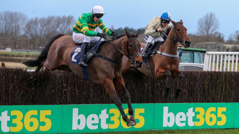Minella Rocco (left) lock horns with Hazel Hill at Wetherby on Saturday