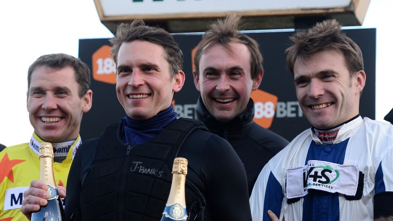 James Banks with colleagues (left to right) Richard Johnson, Nico de Boinville and Tom Scudamore at Chepstow on his retirement two years ago