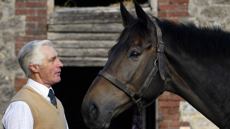 Trainer Robert Alner with Sir Rembrandt at Locketts Farm in Dorset on October 15, 2004