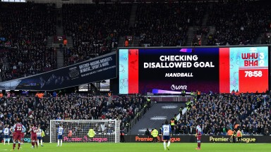 VAR checks a goal during the Premier League match between West Ham United and Brighton