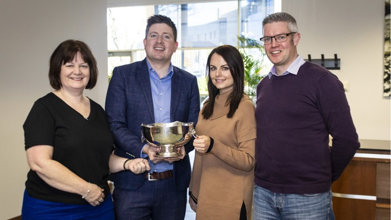 David Jennings is presented with the 2019 Irish Field Naps Table trophy by Nicola McGeady, head of PR with sponsors Ladbrokes. Also pictured are runner-up, Timeform's Billy Nash, and Anne Marie Duff (far left) from the Irish Field.