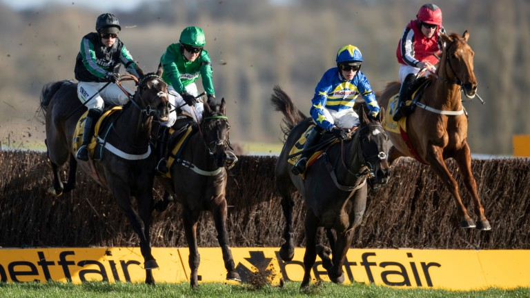 Sceau Royal (green) and Dynamite Dollars (blue) ran with credit at Newbury