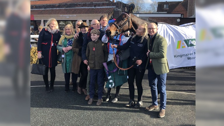 Connections with Rouge Vif in the winner's enclosure after his Kingmaker success
