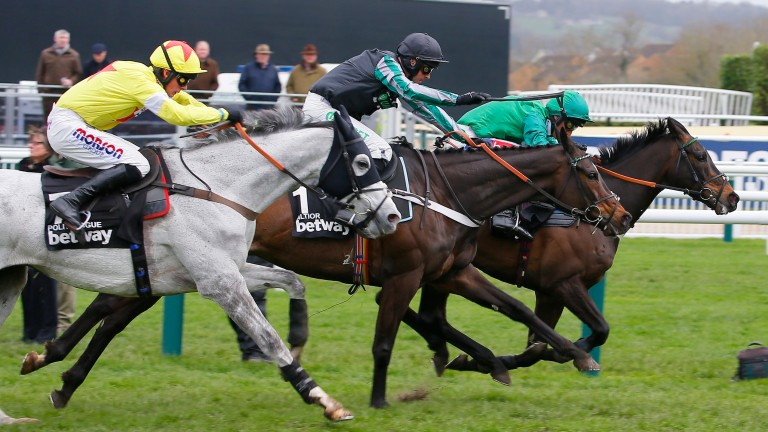 Altior (centre) battled hard to win his second Queen Mother Champion Chase last year