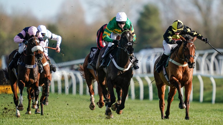 Chantry House (Barry Geraghty), in the familiar green and gold of J P McManus, wins his Newbury prep race to set up a bid for festival success