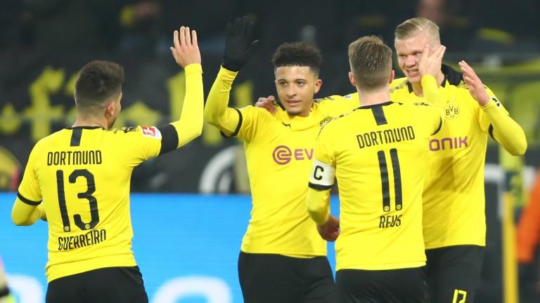 Borussia Dortmund celebrate an Erling Haaland (right) goal