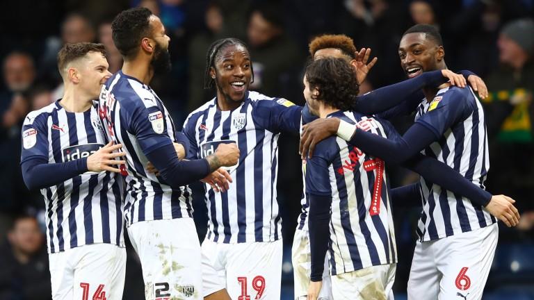 West Brom celebrate a goal by Semi Ajayi