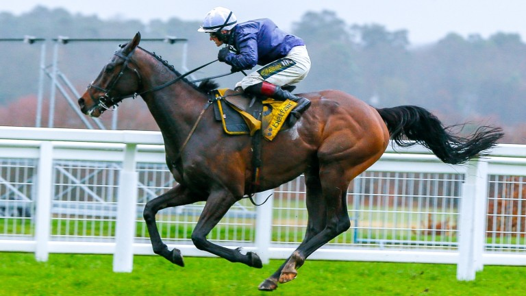 Riders Onthe Storm on his way to landing a dramatic Betfair Ascot Chase