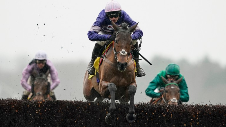 Cyrname in action during a dramatic Betfair Ascot Chase
