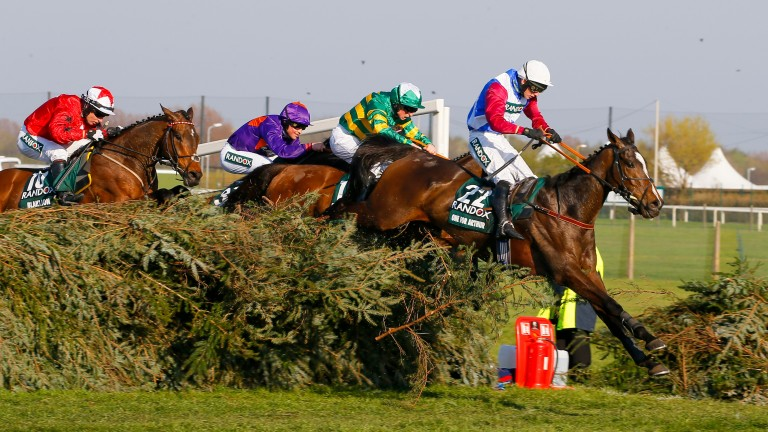 One For Arthur (Derek Fox) jumps the last ahead of Cause of Causes, Blaklion and Gas Line Boy in the 2017 Randox Health Grand National