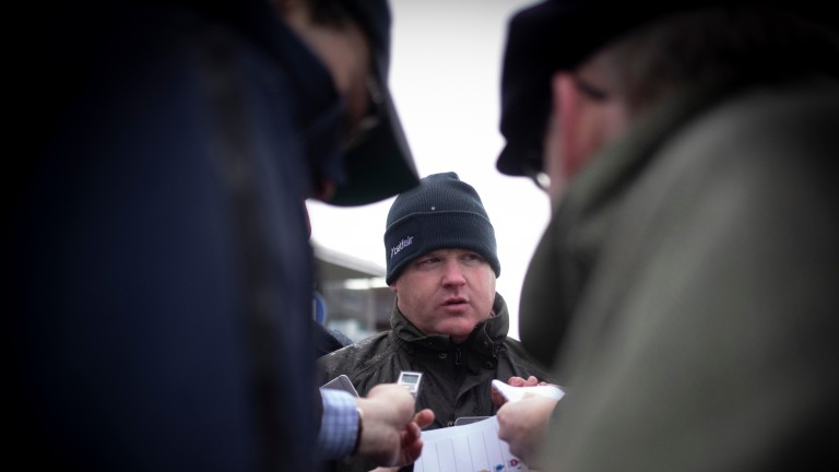 Gordon Elliott reacts to Cracking Smart and Tiger Roll's efforts in the Boyne Hurdle